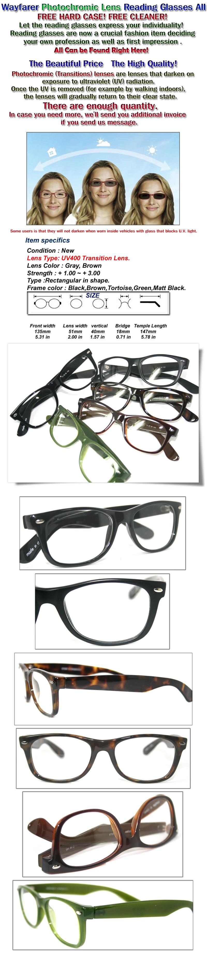 COOL NERD GEEK WAYFARER Photochromic Transition Lens Reading Glasses - Make your own invoice free eyeglasses online store